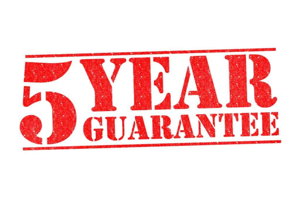 5 year guarantee
