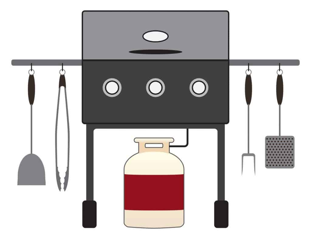 barbecue grill with tools
