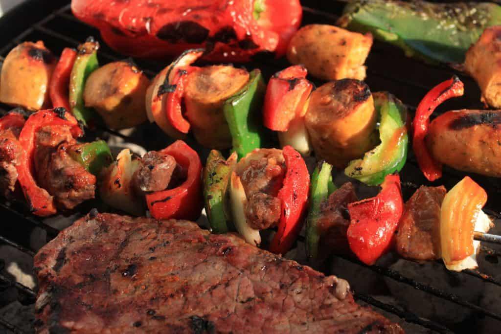 barbecue shish kabob and steak