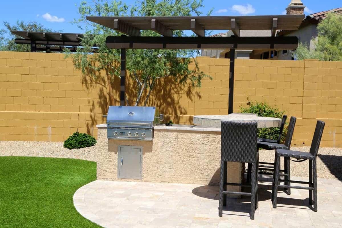 built in grill backyard