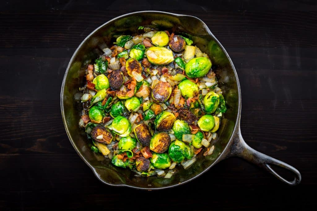 cast iron skillet with brussels sprouts