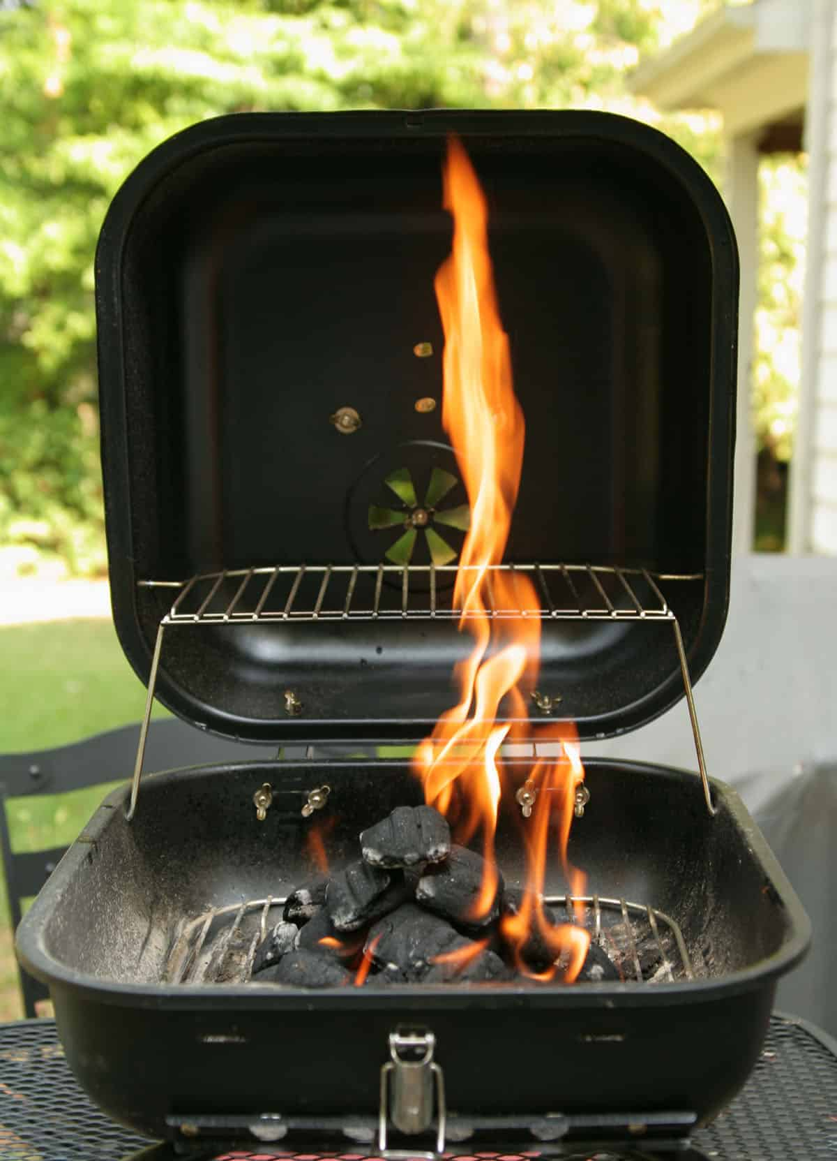 charcoal grill getting hot