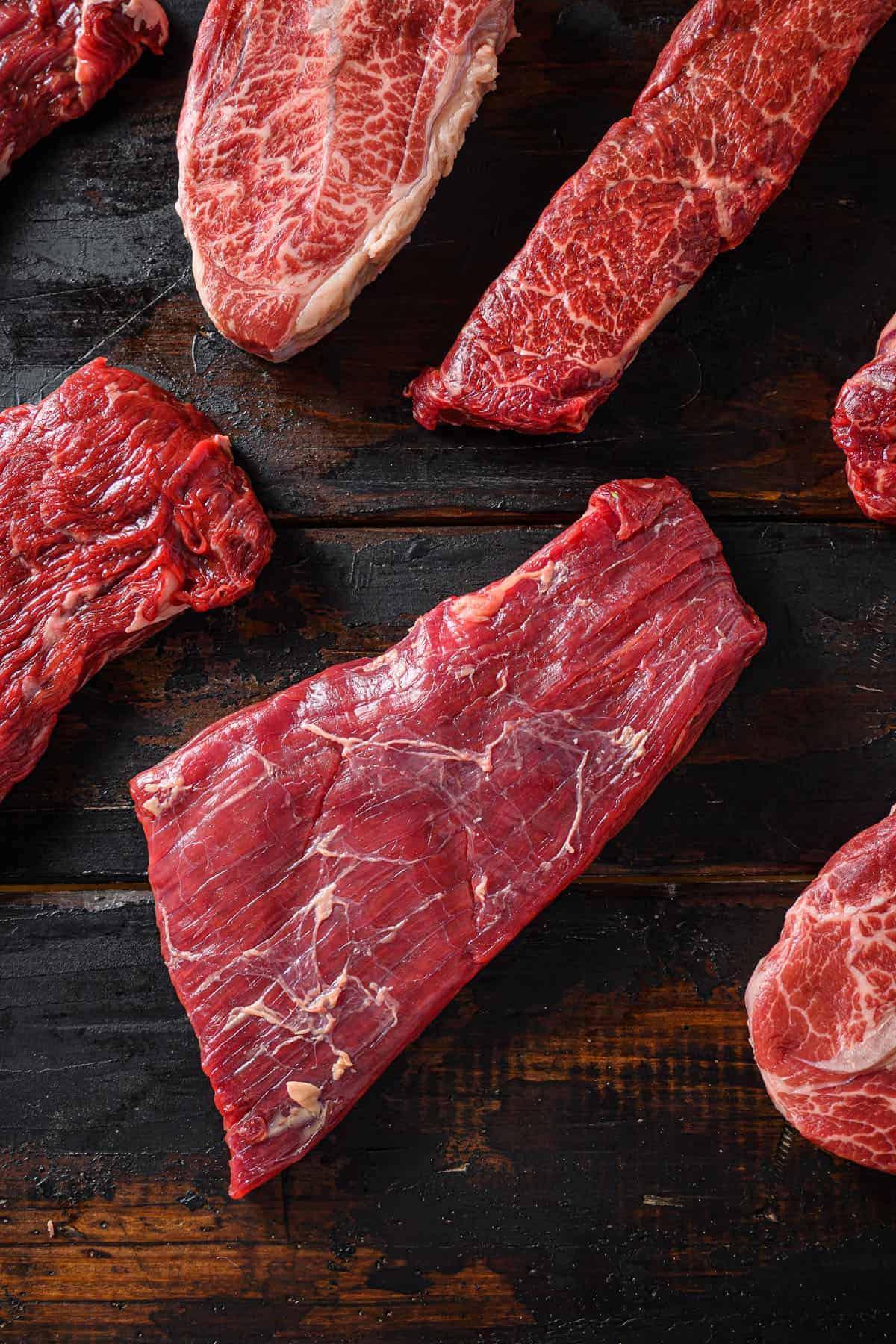flank bavette flap steak beef t steak tri tip top blade oyster
