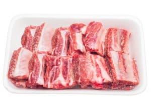 frozen pork rib in the foam tray