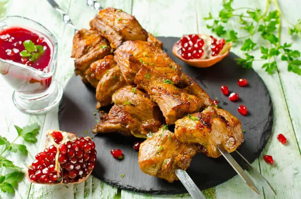 grilled pork ribs on skewers