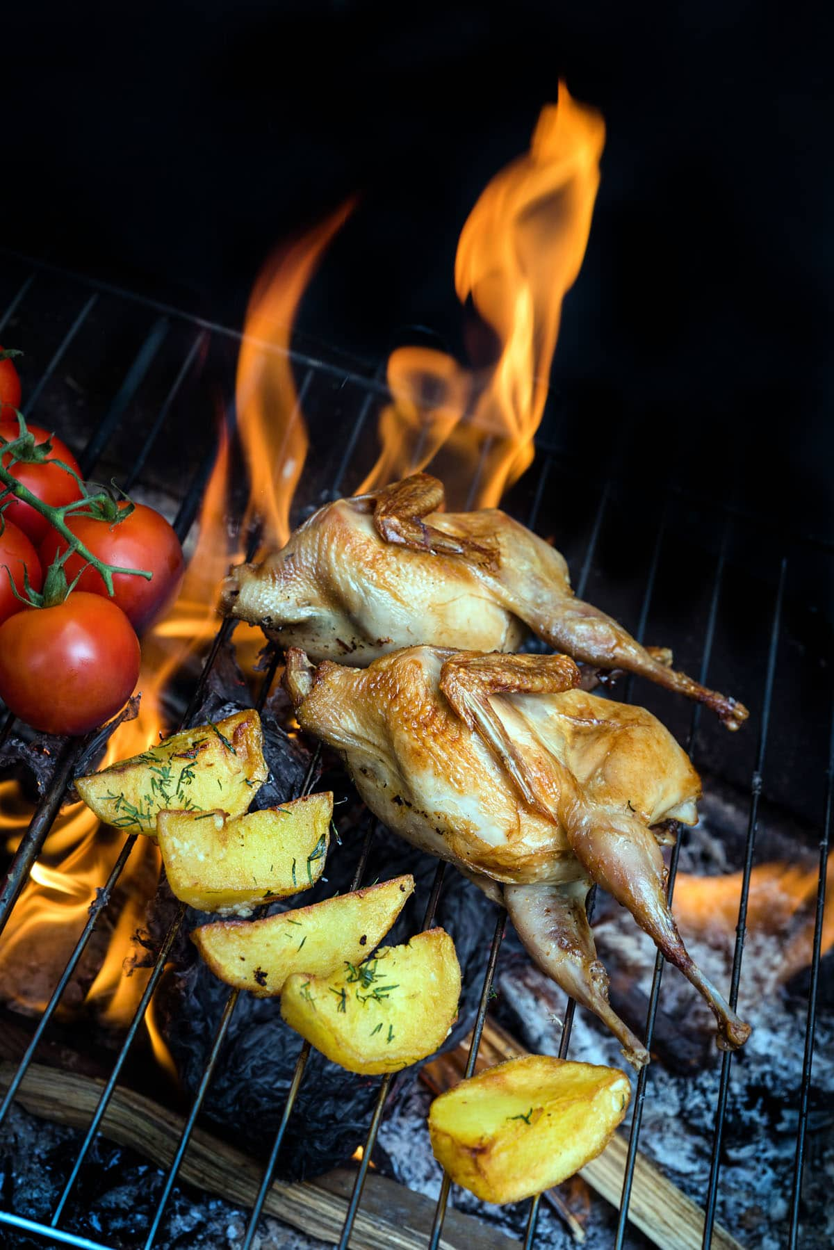 grilling poultry quails and fresh juicy vegetables