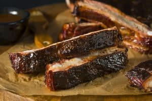 homemade smoked barbecue st louis style pork ribs