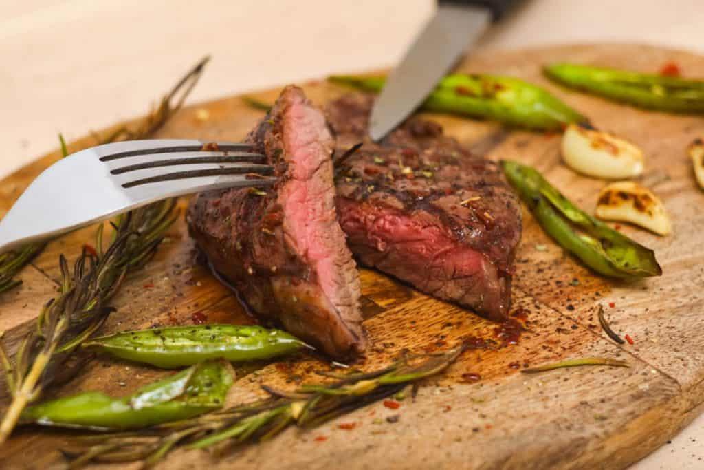 juicy medium beef rib eye steak slices