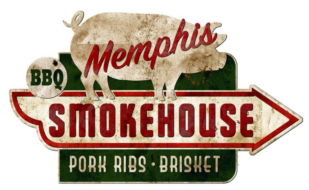 memphis smokehouse sign vintage grunge ribs real