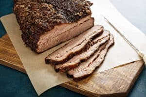 perfectly smoked brisket slices