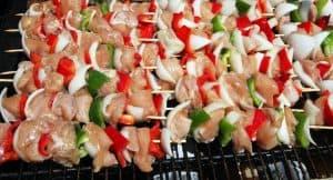 shish kebobs grilling outdoors