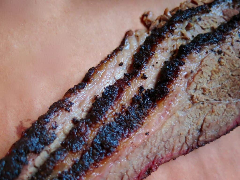 sliced beef brisket served at southern barbecue