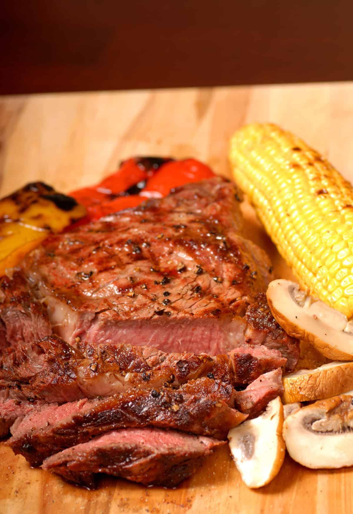 sliced grilled ribeye steak