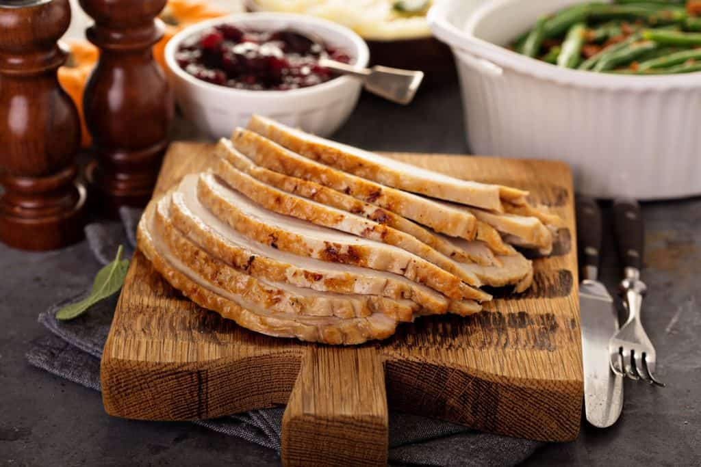 sliced roasted turkey breast for thanksgiving or christmas