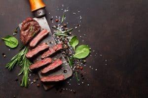 sliced top blade or denver steak