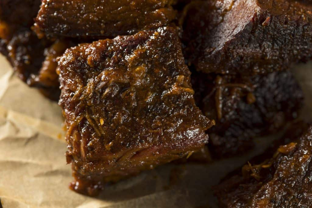 slow smoked brisket burnt ends barbecue
