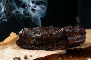 smoked beef brisket bbq with a dark bark