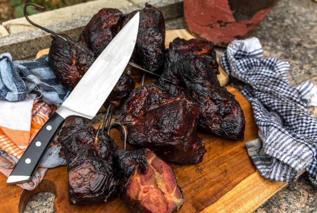 smoking pork chops in the smokehouse