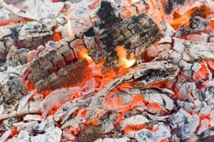 smoldering lump charcoal of the quebracho tree smoldering ash