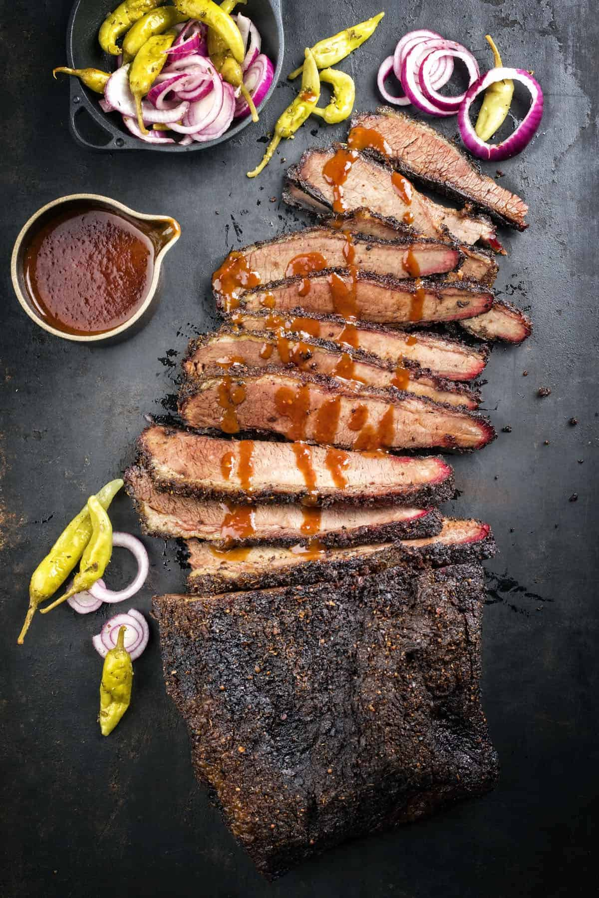 traditional smoked barbecue wagyu beef brisket
