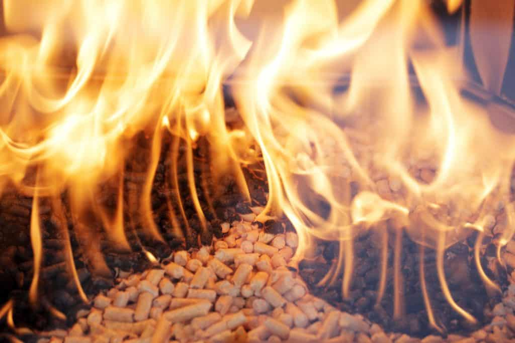 wood pellets burning in a fireplace