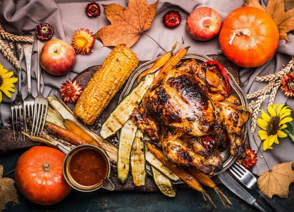 Roasted whole turkey with sauce
